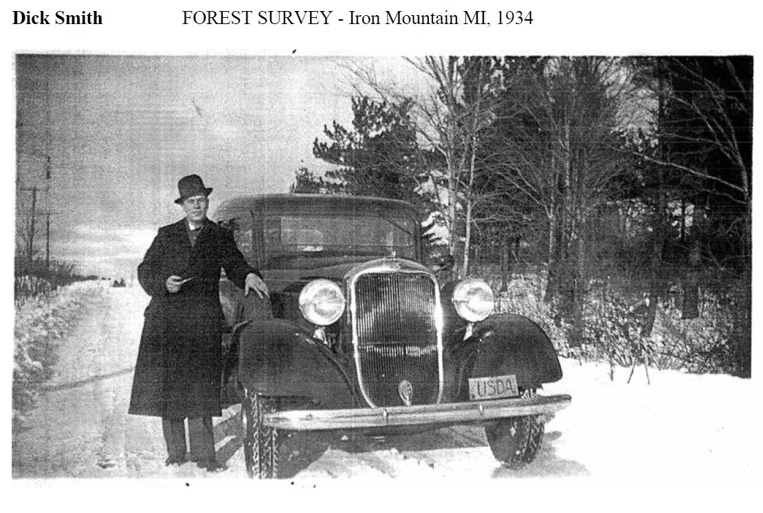 Photo of Dick Smith and old vehicle, FS Employee from Iron Mountain, MI Forest Survey in 1934.