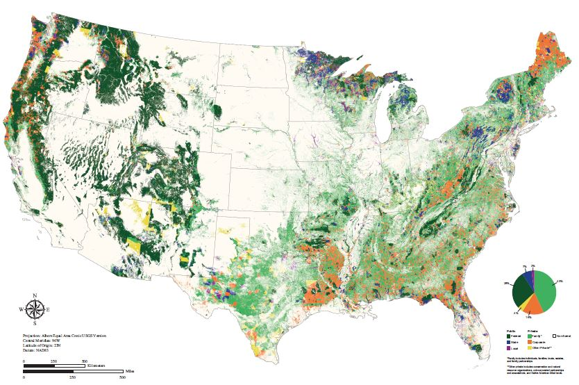 Map showing distribution of six forest ownership types in the conterminous United States